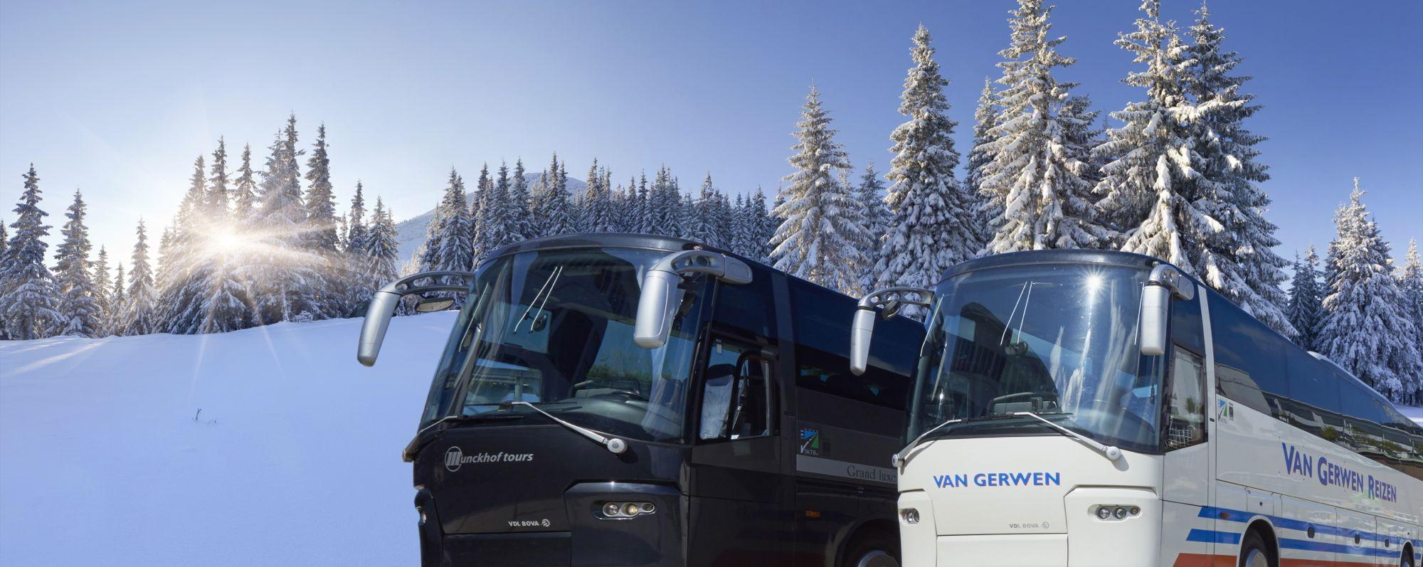 De bussen van VanGerwenMunckhof in de sneeuw